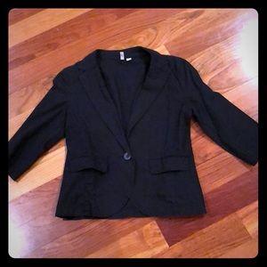 Frenchi black crop sleeve blazer